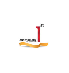 1 anniversary design logotype red color vector