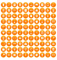 100 learning kids icons set orange vector