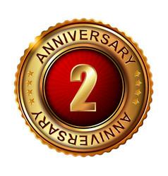 2 years anniversary golden label vector