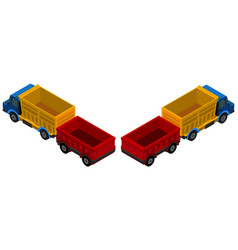 3d design for trucks with wagons vector