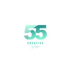55 green pastel gradient number numeral digit vector