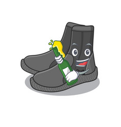 A caricature design style dive booties cheers vector