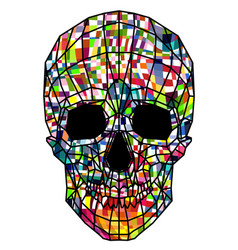 Abstract polygonal multicolor skull on a vector