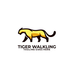 Abstract tiger walking concept template vector