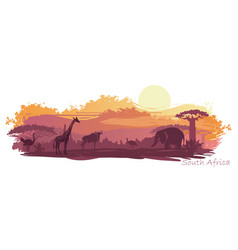 african landscape with wild animals vector image