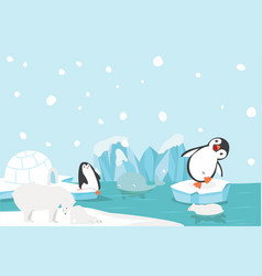 artic animal north pole arctic landscape vector image