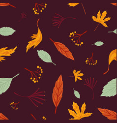 autumn leaves seamless pattern freehand drawing vector image