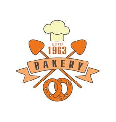 bakery logo template estd 1963 bread shop badge vector image