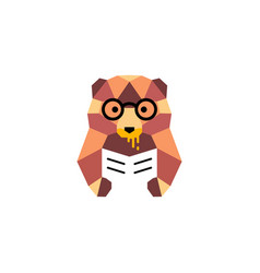 bear honey geometric book logo mascot vector image