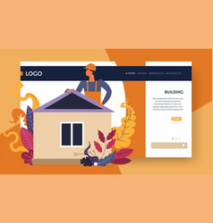 building online web page builder or engineer house vector image