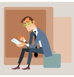 Businessman traveler sits on bag and reads vector