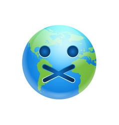Cartoon earth face silent emotion icon funny vector