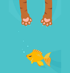 cat paw catch fishing gold fish under water vector image