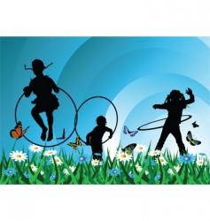 children meadow vector image