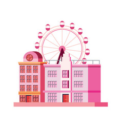 City building with carnival ferris wheel vector
