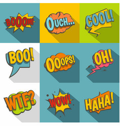 Comic sounds icon set flat style vector