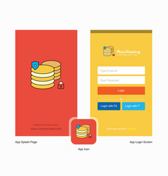 company database splash screen and login page vector image