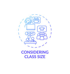 Considering class size concept icon vector