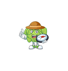 Cool explorer cabbage cartoon character with a vector