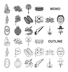 Country south korea monochrom icons in set vector
