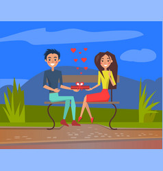 Couple having date evening park man and woman vector