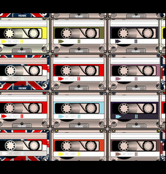 Creative hipster background with retro cassettes vector