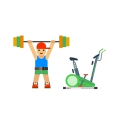 Fitness gym sport people icon vector