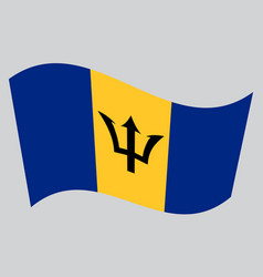 Flag of barbados waving on gray background vector