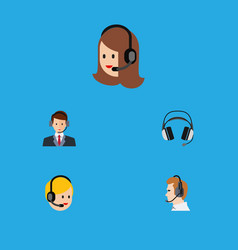 Flat icon center set of hotline service call vector