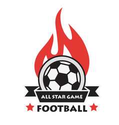Football all star game ribbon fire ball background vector