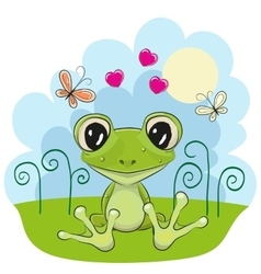 Frog with flowers vector