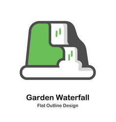 garden waterfall outline flat vector image