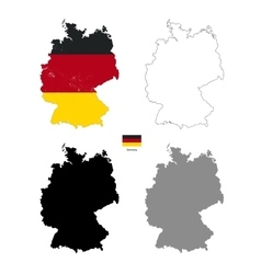 Germany country black silhouette and with flag on vector