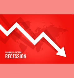 Global economic recession downfall arrow red vector