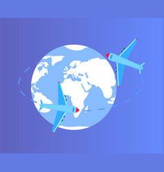 globe earth with lines and aircrafts planes vector image
