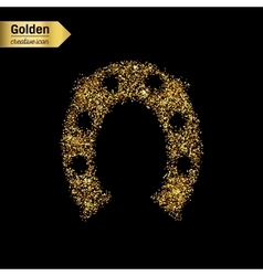 Gold glitter icon of hoof isolated on vector