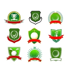 Golf emblems and logos in heraldic style vector image