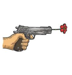 Gun shoots a flower sketch engraving vector