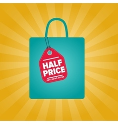 Half price sale sticker on package silhouette vector image