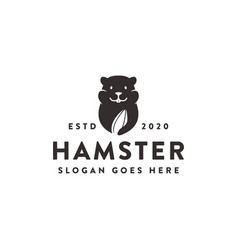 hamster and watermelon seed food snack logo vector image