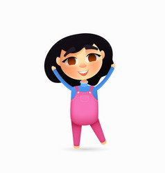 happy young girl character cartoon style vector image