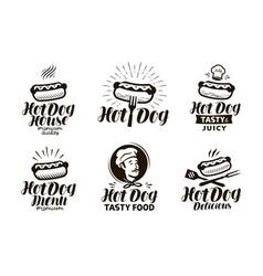 Hot dog logo or label fast food eating emblem vector