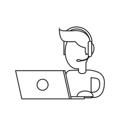 Isolated operator man with laptop design vector