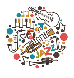 Jazz music isolated emblem musical instruments and vector