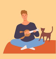 Joyful guy playing on ukulele and singing having vector