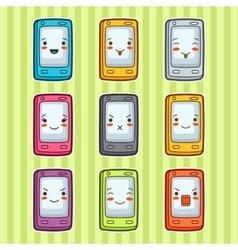 Kawaii doodle mobile phones set of vector
