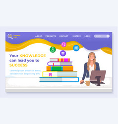 Landing page business website your knowledge vector
