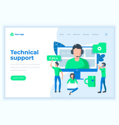 Landing page template technical support concept vector