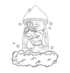 Little girl with unicorn and cloud kawaii vector