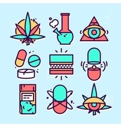 Medical marijuana cannabis icon set vector image